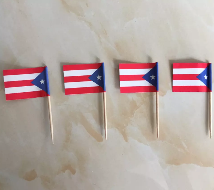 Party Decorate Puerto Rico Food Flag with Toothpicks