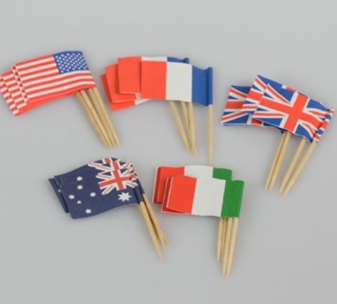 Cheap promotional decorative toothpick small paper flag